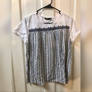 THML white cream navy top size large NWT